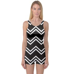 Black Black And White With Zigzag Pattern Boyleg One Piece Swimsuit by CoolDesigns
