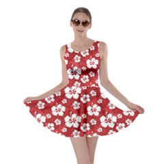 Red Pattern Hibiscus Flowers On Red Skater Dress by CoolDesigns