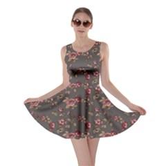 Gray Elegance Pattern Flowers Roses Skater Dress
