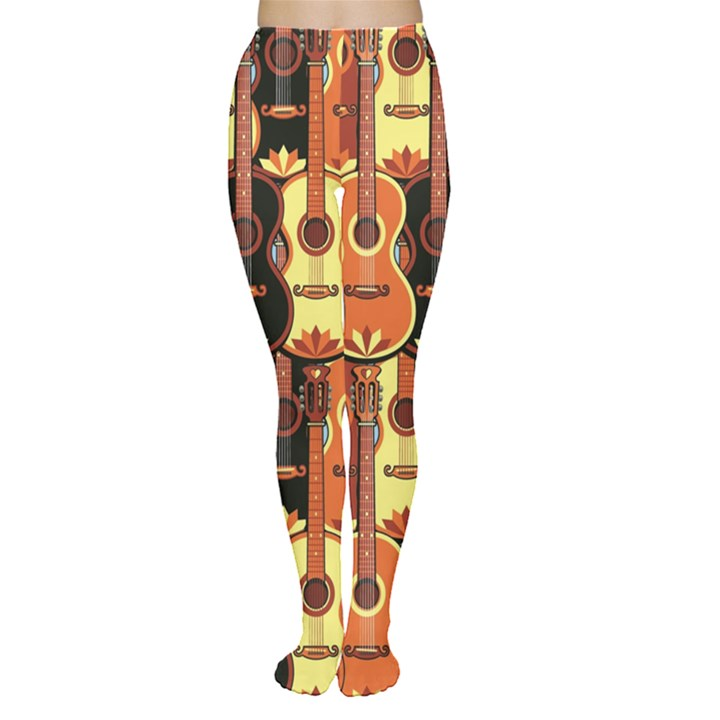 Colorful Pattern with Guitars Women s Tights