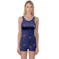 Blue Pattern Owls In The Night Forest Boyleg One Piece Swimsuit
