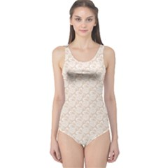 Nude White Retro Roses Lace Pattern On Beige One Piece Swimsuit