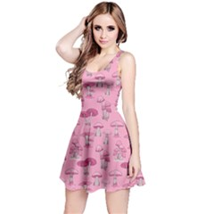Pink Mushroom Pattern Sleeveless Dress