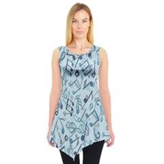 Blue Pattern With Music Notes Sleeveless Tunic Top