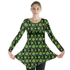 Green Shamrock Pattern Black Long Sleeve Tunic Top by CoolDesigns