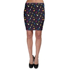 Colorful Space With Cats Saturn And Stars Bodycon Skirt by CoolDesigns