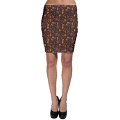 Brown African Ethnic Pattern With Stylized Bodycon Skirt