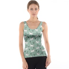 Green Pattern Of Racing White Horses And Flowers Tank Top by CoolDesigns