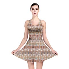 Brown Tribal Pattern In The African Style Reversible Skater Dress