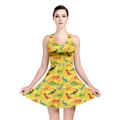 Yellow Cartoon Dinosaur Pattern Reversible Skater Dress by CoolDesigns