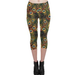 Green Pattern Peacock Feathers Capri Leggings