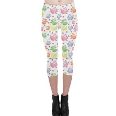 Colorful Watercolor Easter Rabbits Patternornamentcolored Capri Leggings by CoolDesigns