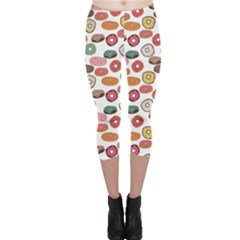 Colorful Donuts Pattern Capri Leggings by CoolDesigns