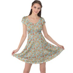 Brown Retro Pattern With Detailed Slices Of Pizza Cap Sleeve Dress by CoolDesigns
