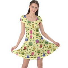Colorful Pattern With Colorful Ornamental Owls On A Light Cap Sleeve Dress