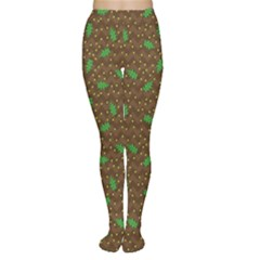 Green Pattern Made Of Illustrated Acorns And Oak Leaves On Women s Tights