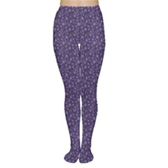 Blue Christmas Elegant Pattern With Snowflakes Women s Tights