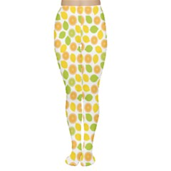 Yellow Pattern With Lemon Lime Orange On The White Women s Tights