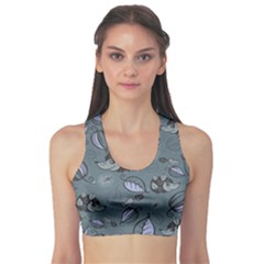 Blue Hedgehogs in the Night Forest Pattern Women s Sport Bra by CoolDesigns