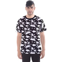 Black Pattern With Silhouettes Coconut Palm Trees Hammock Men s Sport Mesh Tee by CoolDesigns
