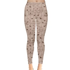 Brown Retro Pattern With Birds And Cage Women s Leggings