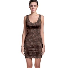 Brown Pattern Of Big Eyed Owls Family On Tree At Night Bodycon Dress by CoolDesigns