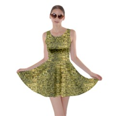 Green Leather Animal Snake Reptile Crocodile Pattern Skater Dress