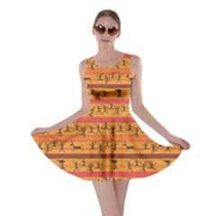 Orange Comic Pattern Of Hunting African Aborigines Skater Dress