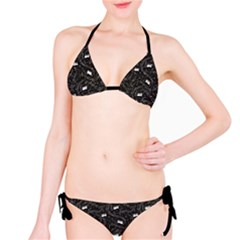 Black Beautiful Musical Pattern With Notes And Piano Keyboard Bikini Set by CoolDesigns