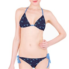 Blue Airplanes In The Night Sky Pattern Bikini Set by CoolDesigns