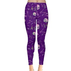 Skull Purple Fun Leggings  by CoolDesigns