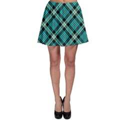 Aqua Plaid Skater Skirt by CoolDesigns