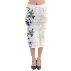 Mocha Hawaii Midi Pencil Skirt by CoolDesigns