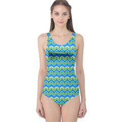 Green Ocean Chervon One Piece Swimsuit