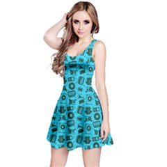 Sky Blue Radio Cd Player Music Pattern Sleeveless Dress