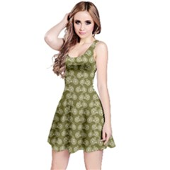 Olive Vintage Bicycles Outline Pattern Sleeveless Dress