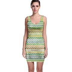 Green Tone Chevron Scratched Texture Bodycon Dress  Bodycon Dress by CoolDesigns