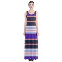 Purple Stripes Sleeveless Maxi Dress by CoolDesigns