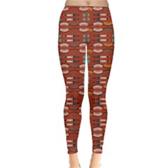 Dark Orange Tribal Aztec Leggings by CoolDesigns