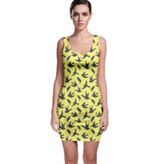 Yellow Background Different Style Birds Flying Pattern Bodycon Dress  Bodycon Dress
