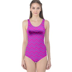 Magenta Chervon One Piece Swimsuit by CoolDesigns