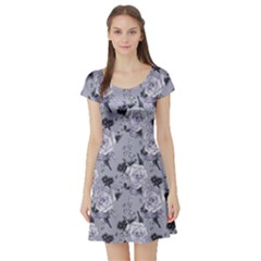 Light Gray Roses Vintage Floral Short Sleeve Dress