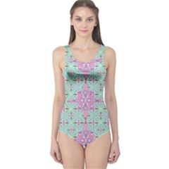Mint Tribal 2 Cut-Out One Piece Swimsuit by CoolDesigns