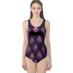 Purple Feather Cut Out One Piece Swimsuit by CoolDesigns