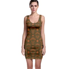 Brown Australian Boomerang Kangaroo Koala Pattern Bodycon Dress by CoolDesigns