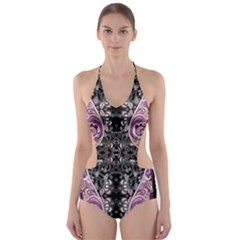 Dark Damask Cut Out One Piece Swimsuit