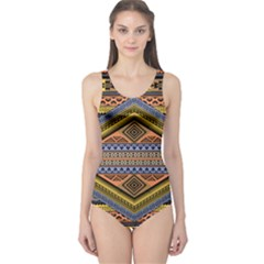 Muddy Tribal Athletic One Piece Swimsuit by CoolDesigns