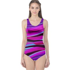 Purple Lines Athletic One Piece Swimsuit by CoolDesigns