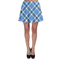 Sky Blue Plaid Skater Skirt by CoolDesigns