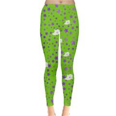 Neon Green Ghost Leggings  by CoolDesigns